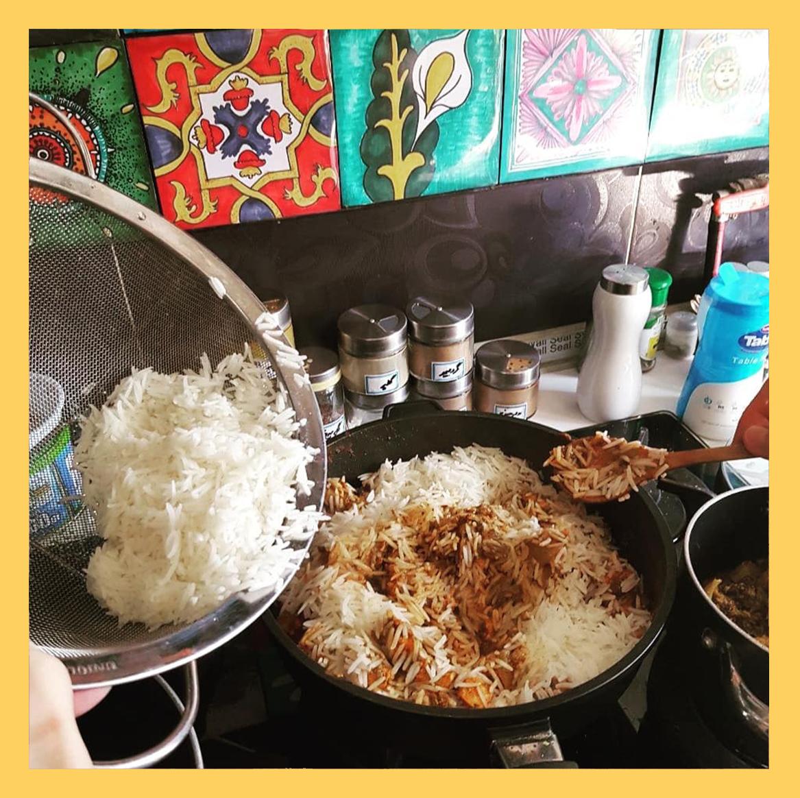fish rice in pot , ترکیب پلو و ماهی